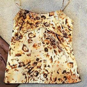 Cheetah print silky camisole tank top